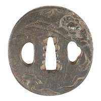 Japanese Sword Guard Tsuba. Meiji Period