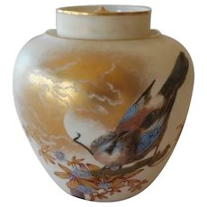 "Royal Worcester Medium Potpourri HP Bird On Branch Flowers 6"" W Lid C 1889"