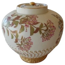 "Royal Worcester Large Potpourri Multi Floral Gold 8 3/4"" W Lid #1286 C 1887"
