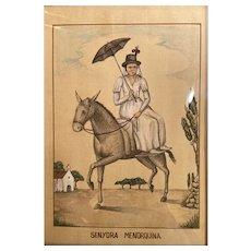 Original drawing. Spanish noblewoman of Menorca.