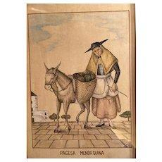 Original drawing. Spanish Peasant woman of  Menorca.