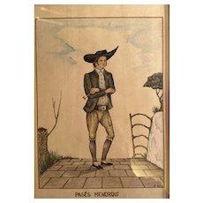 Original drawing. Spanish Peasant of  Menorca.