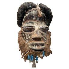 Guere Carved Animal Spirit Wooden Mask, Cote d'Ivoire