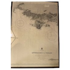 France - South Coast. Approaches to Toulon. Nautical map. Etching 19th century.