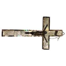 Olive Wood Crucifixion with Nacre decoration