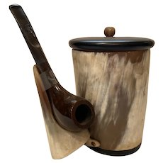 Bull horn pipe smoking set
