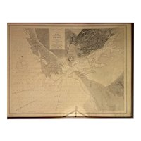 "Nautical map. Engraving. 19th century. ""Portugal. Rio Lima"""