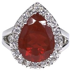 GIA 3.19 ct. Fire Opal & Diamond Ring in Platinum