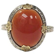 Carnelian Ring with Fancy Prongs