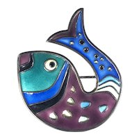 Vintage David-Andersen Enameled Sterling Silver Fish Brooch