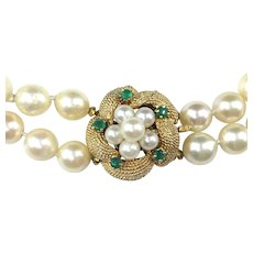 Double Strand Akoya Cultured Pearl Choker Necklace with 14K Gold & Emerald Clasp