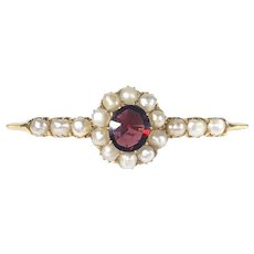 Edwardian Antique Rhodolite & Faux Seed Pearl Bar Pin in 18K Gold