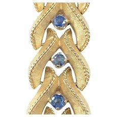 Vintage Florentine Finish 14K Gold Sapphire Bracelet