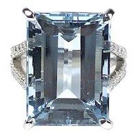 GIA Certified 14.88 ct. Aquamarine & Diamond Ring in Platinum
