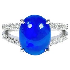GIA 2.13 ct. Vivid Blue Opal & Diamond Ring in 14K White Gold
