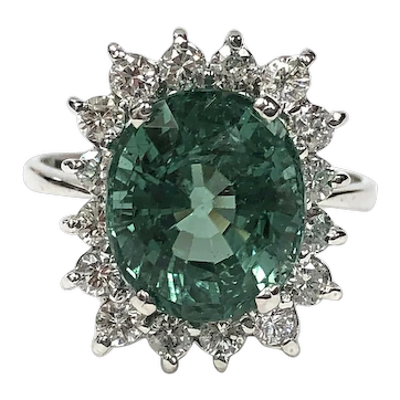 GIA Certified 4.71 ct. Paraiba Tourmaline & Diamond Halo Ring in 18K White Gold