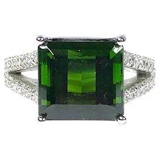 GIA 7.18 ct. Green Tourmaline & Diamond Ring in Platinum