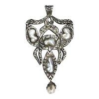 Georgian Era Repro Natural Pearl & Diamond Pendant
