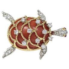 Vintage Hammerman Brothers Red Coral, Diamond, Ruby, 18K Gold & Platinum Turtle Brooch