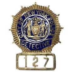 Historical NYPD Detective Retirement Badge in 14K Gold & Enamel
