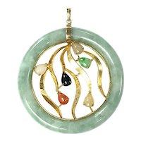 Large Multicolor Jade Pendant in 14K Gold