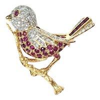 Vintage Ruby & Diamond Bird Brooch