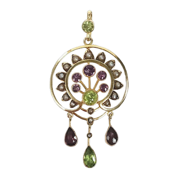Edwardian Antique Suffragette 14ct Gold, Amethyst, Peridot & Natural Pearl Pendant