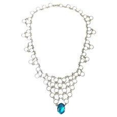 Swiss Blue Topaz Circular Mesh Bib Necklace