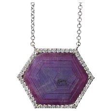 GIA Certified Trapiche Ruby & Diamond Necklace in 18K White Gold