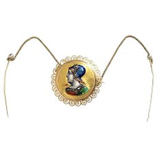 Victorian Rose Cut Diamond & Pearl Enameled Brooch