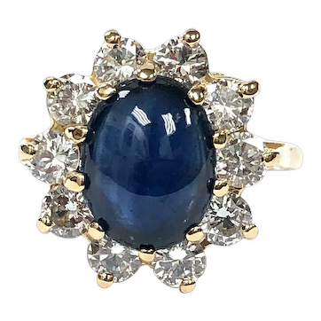 Cabochon Sapphire & Diamond Halo Ring in 14K Gold