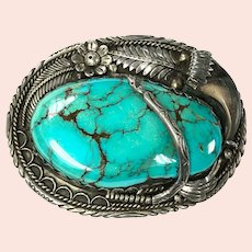 Large Navajo Turquoise & Claw Sterling Silver Belt Buckle