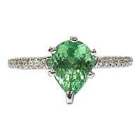 IGI Certified Neon Green Paraiba Tourmaline & Diamond Ring