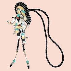 LARGE Jonathan Beyuka Native American Zuni Dancer Multi-Gem Inlay Bolo Tie