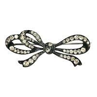 Victorian Knoll & Pregizer Old Mine Cut Paste Ribbon Brooch