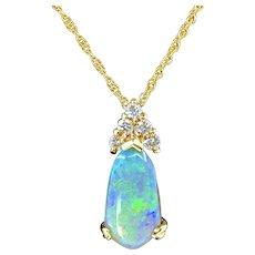 Precious Opal & Diamond Pendant Necklace in 18K Gold