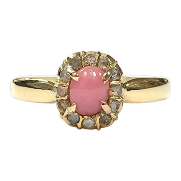 Victorian Antique 18K Gold, Natural Pink Conch Pearl & Rose Cut Diamond Ring