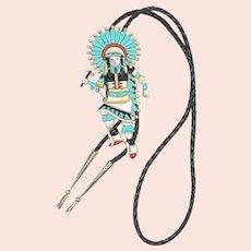 Richard Curley Navajo Dancer Inlay Bolo Tie