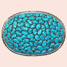 Large Navajo Turquoise Cluster Sterling Silver Belt Buckle