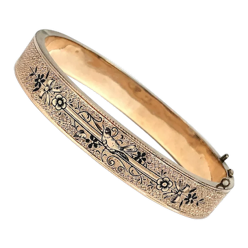 Victorian Antique 14K Gold Filled Mourning Bracelet