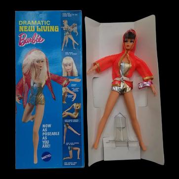NIB 1969 MOD Dramatic New Living Barbie #1116 with Brown Hair Twist 'N Turn