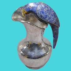 """Los Castillo silver plated parrot pitcher 9"""" Mexican Mid Century"""