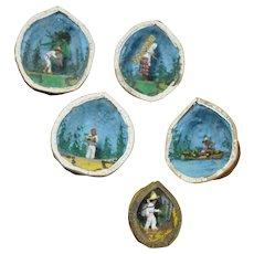 Five folk art Mexican miniature walnut shell dioramas