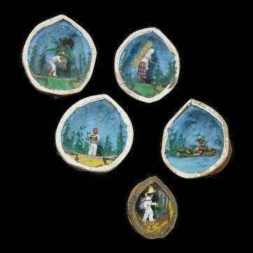 Five mid century folk art Mexican miniature walnut dioramas