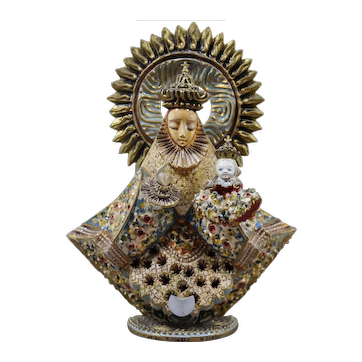 """Cortes family carved Mexican Saint Santo 7.5"""""""
