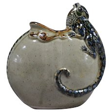 Jorge Wilmot Mexican folk art Tonala stoneware Iguana pot