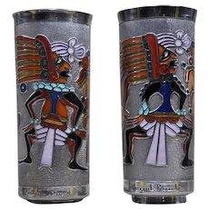 Miguel Pineda Mexican enamel silver vases matched pair