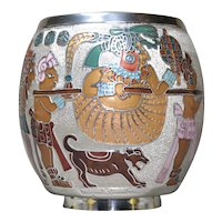 Miguel Pineda Mexican enamel silver round vase
