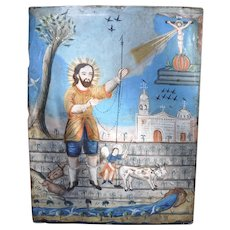 Mexican folk art retablo San Ysidro Labrador
