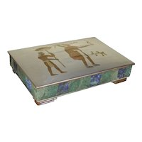 Los Castillo Sterling Silver malachite box early 1950s